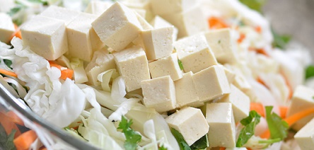 Tofu in raw form.